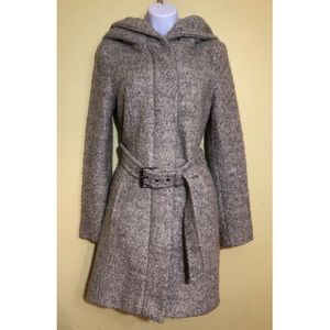 Zara basic gray hooded wool coat with belt